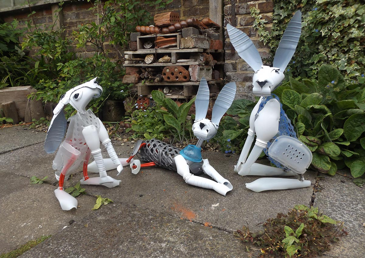 Recycled Hare Sculpture